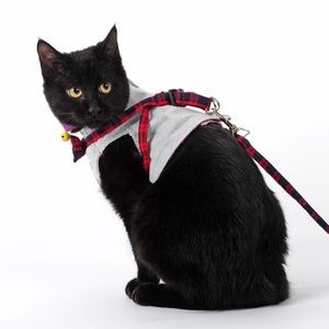 FANCY BOWTIE Cat Leash Collar Harness Vest & Leash